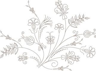 Vector flower design, floral ornament, plant pattern