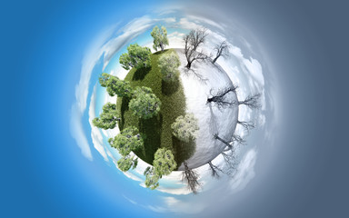 Miniature planet representing summer and winter
