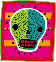 A green and blue skull on a bright background