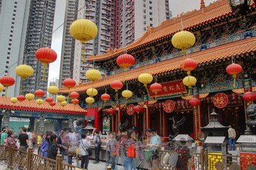 Deurstickers Hong-Kong temple à hong kong