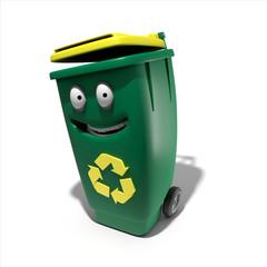 Poubelle recyclage jaune mascotte