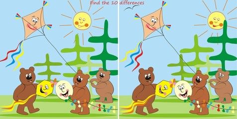 bears and kites-find 10 differences
