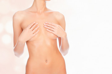 Female body with a breast covered