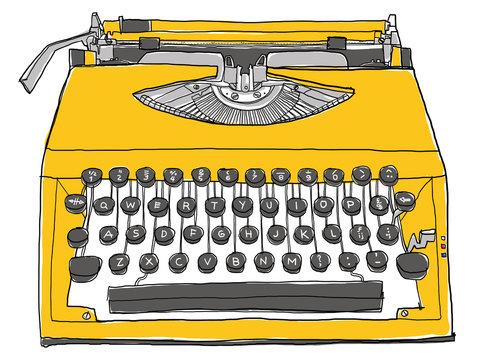 yellow typewriter vintage