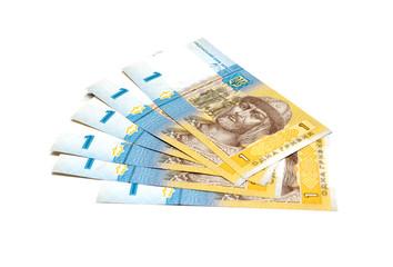 Ukrainian money (hryvnia). Isolated on white background