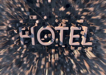 Hotel in the city - tourism background -