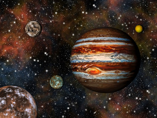 Wall Mural - 3D Solar System. Jupiter and its 4 largest moons.