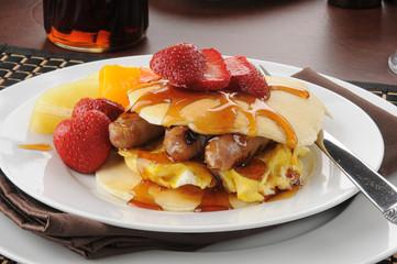 Pancake sandwich wtih strawberries