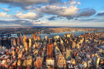 Fototapete - Vue sur Hudson river et Manhattan, New York.