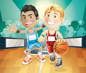 Kids playing basketball on indoor court. vector illustration car