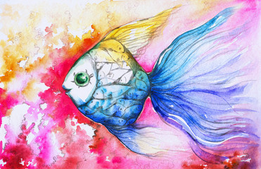 Colorful fish watercolor painted.