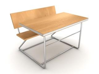 modern metallic wooden school desk on white background