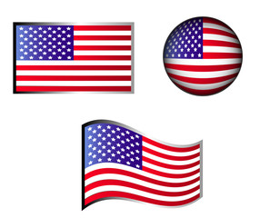 American flag and button Vector