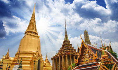 "Famous Bangkok Temple - ""Wat Pho"" with Dramatic Sky"