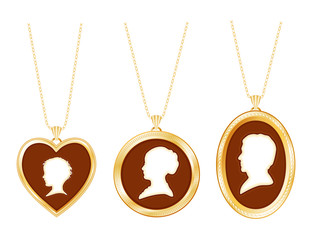 Cameo Family, vintage gold locket jewelry, chains, 3 silhouettes