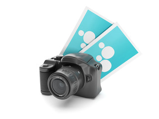 3d illustration: Photo. Camera and a group snapshot