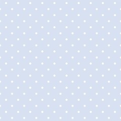 Vector seamless pattern with white polka dots on blue background