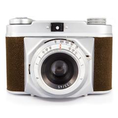 Vintage photo camera isolated on white