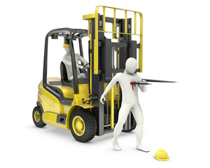 Abstract white man was injured by lift truck fork