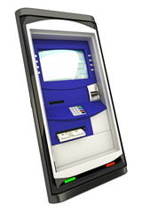 illustration of ATM machine panel on mobile phone screen