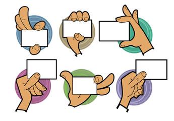 Cartoon hands holding card
