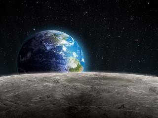 Obraz Wschodząca Ziemia widziana z Księżyca - fototapety do salonu