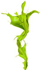 Isolated shot of green paint splash in flower shape