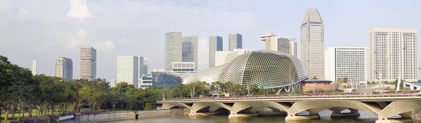 Foto op Plexiglas Singapore Singapore City Skyline Along River Panorama