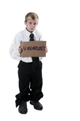 Little Boy Holding an Unemployment Sign