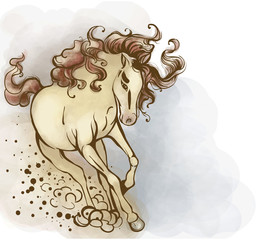 Horse yellowish, with a bright tail and mane.