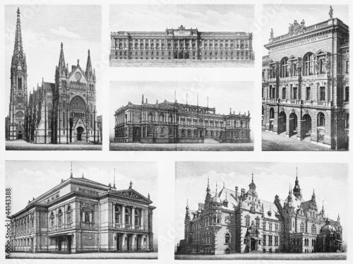 Vintage Drawings Representing Famous Leipzig Buildings Stock Photo