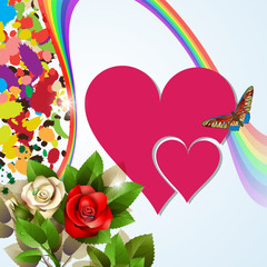 Colorful background with red hearts, roses and rainbow