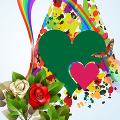 Colorful background with hearts, roses and rainbow