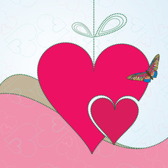 Abstract background with red hearts and butterfly