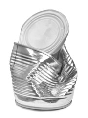 Crushed tin can isolated