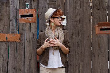 Hipster girl outdoors