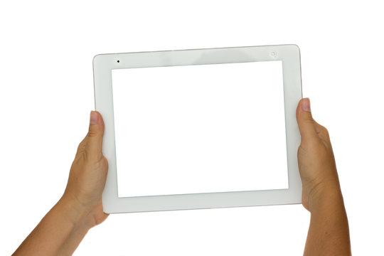 hands  holding  modern tablet PC