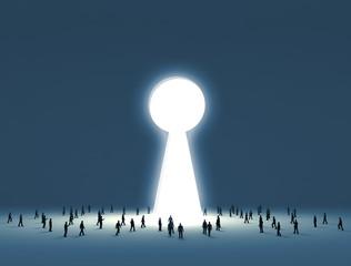 People walking into a gate shaped like a keyhole