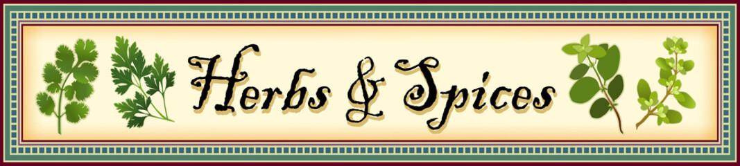 Herbs and Spices Banner, Cilantro, Parsley, Oregano, Marjoram