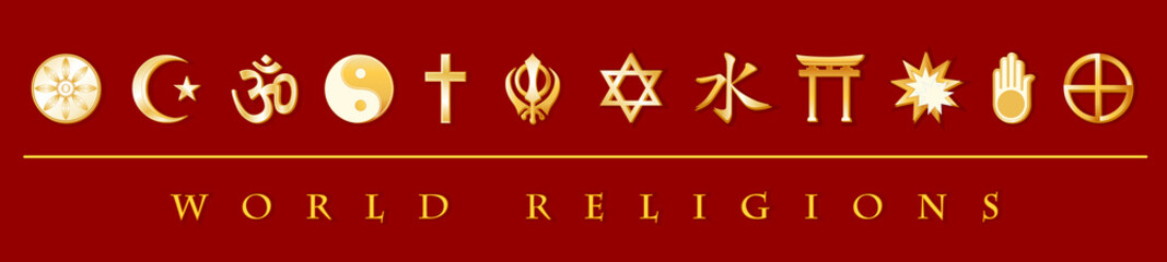 World Religions Banner. Gold icons of 12 international faiths
