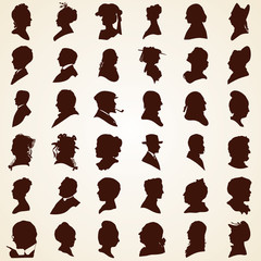 Head profile silhouettes, vector set people heads