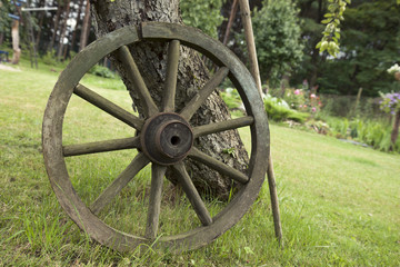 Ancient carriage wheel