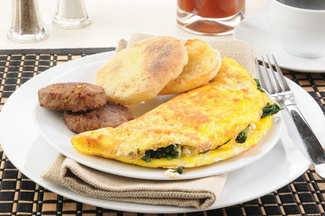 Spinach omelet with sausage