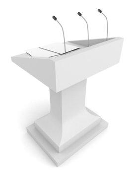 speech podium tribune with microphone on white background