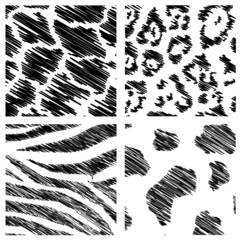 wild animal abstract backgrounds set