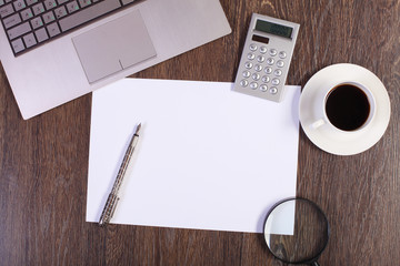Business papers and a cup of coffee