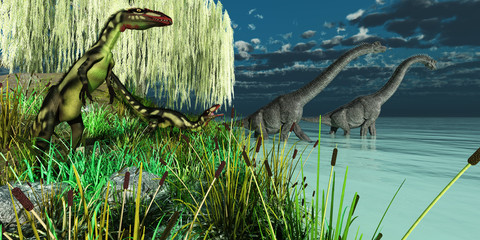 Brachiosaurus and Dilong Dinosaurs