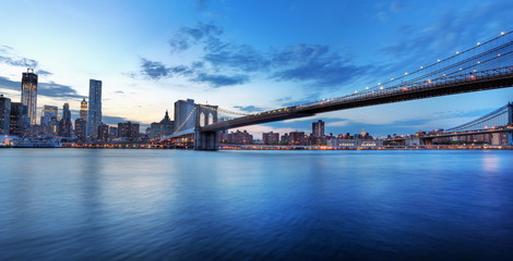 Fototapete - Manhattan et Brooklyn bridge, New York.