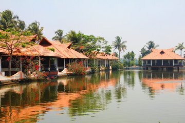 Scenic reflections in Kerala Backwaters