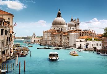 Foto op Plexiglas Blauwe jeans Grand Canal and Basilica Santa Maria della Salute, Venice, Italy